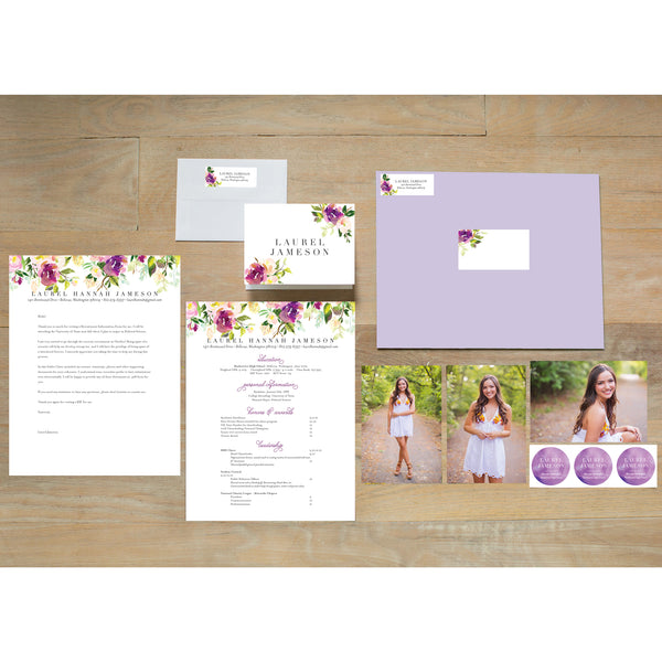 Graceful Bouquet sorority packet shown with Plum presentation envelope