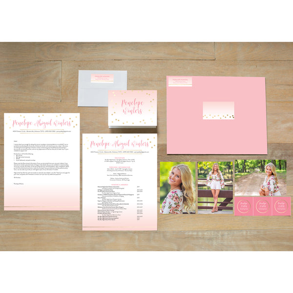 Gradient Confetti sorority packet shown with Blossom presentation envelope