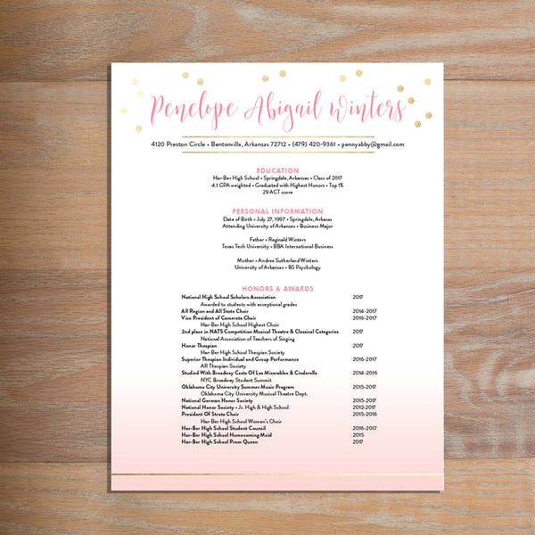 Gradient Confetti social resume letterhead with full formatting
