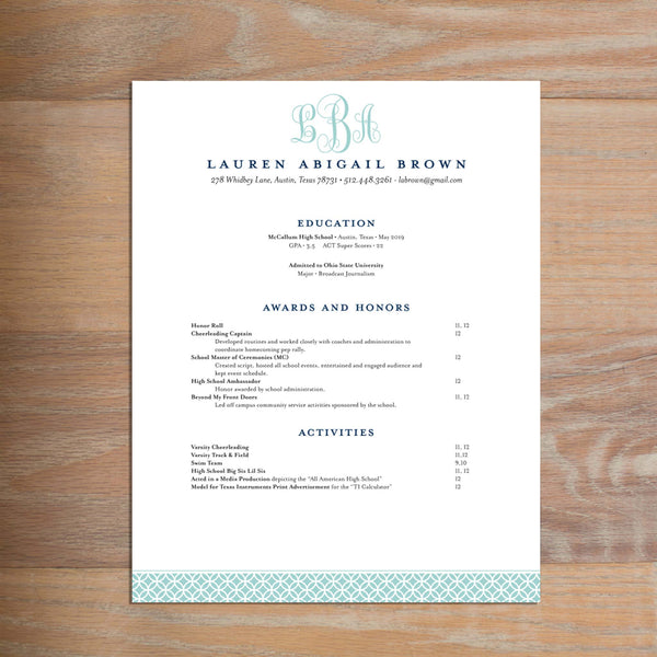 Lattice Monogram Fully-Formatted Sorority Resume shown in Pool & Night