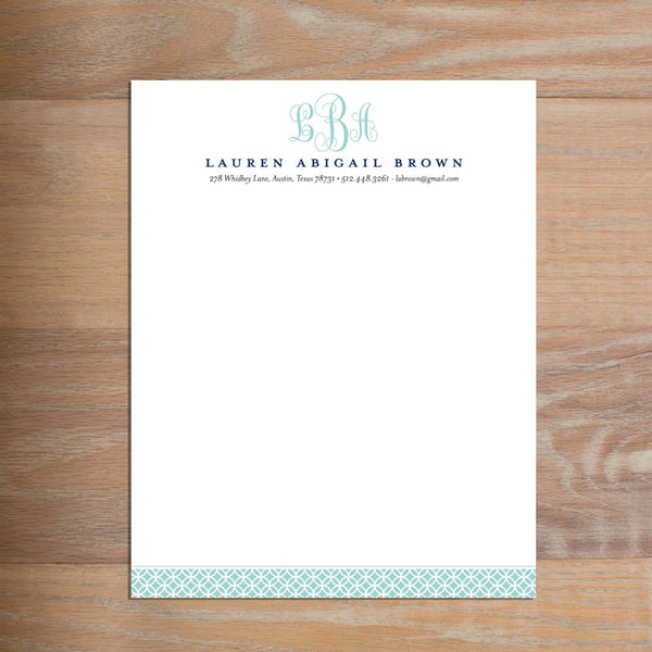 Lattice Monogram social resume letterhead without formatting shown in Pool & Night