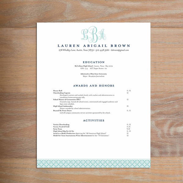 Lattice Monogram resume shown with full formatting