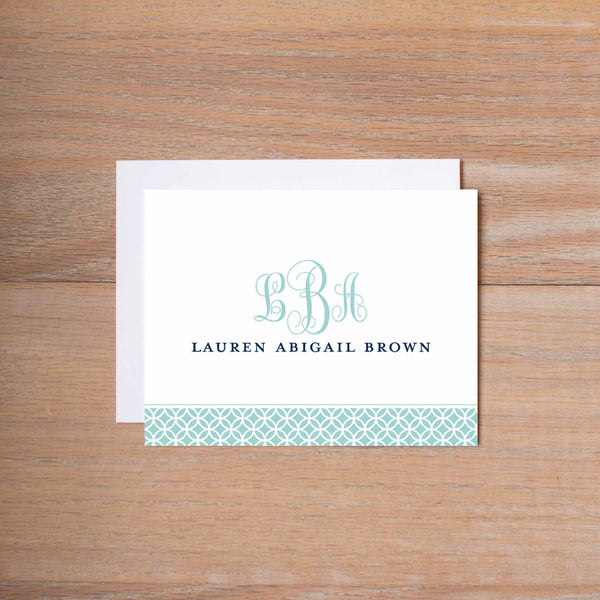 Lattice Monogram personal note card (if you choose to print with us, you will also receive envelopes with your note cards)