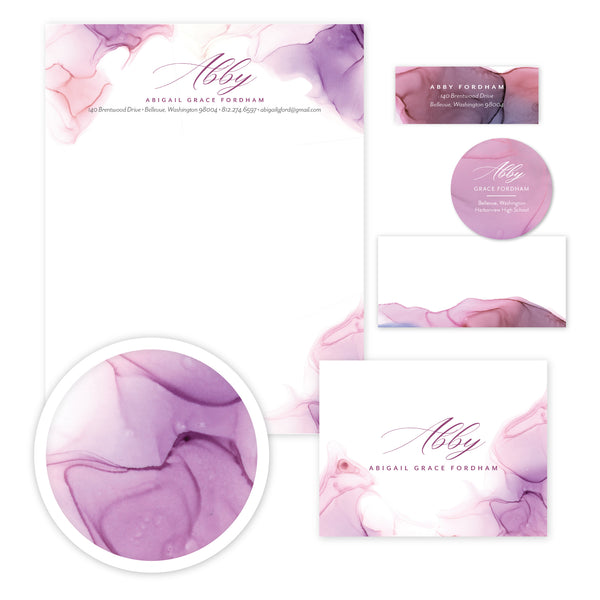 Lilac Wash Stationery Set - Large