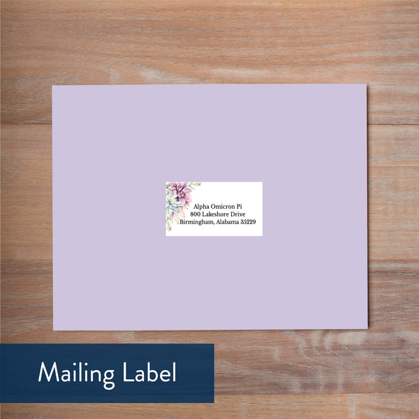 Soft Succulents mailing label