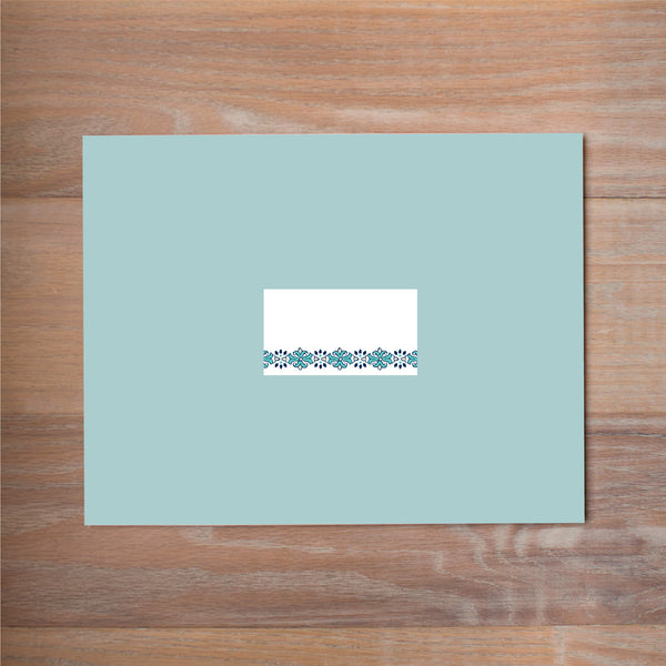 Tile Border mailing label shown on Pool presentation envelope (available as an add-on to your purchase)