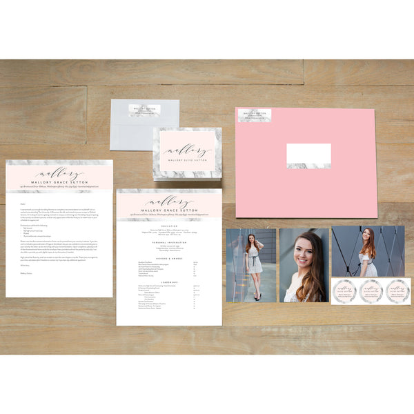Marble Blush Sorority Packet with blossom presentation envelope
