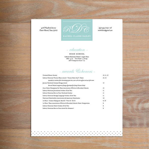 Monogram Block social resume letterhead with full formatting shown in Pool & Pewter