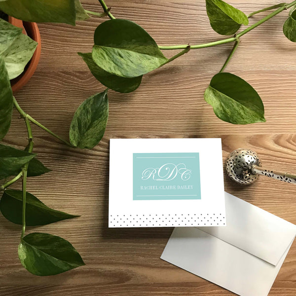 Monogram Block Folded Note Cards