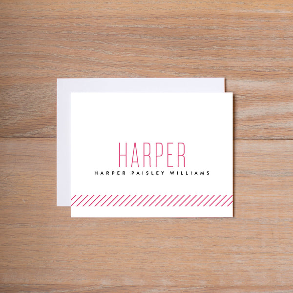 Big Name personal note card (if you choose to print with us, you will also receive envelopes with your note cards)