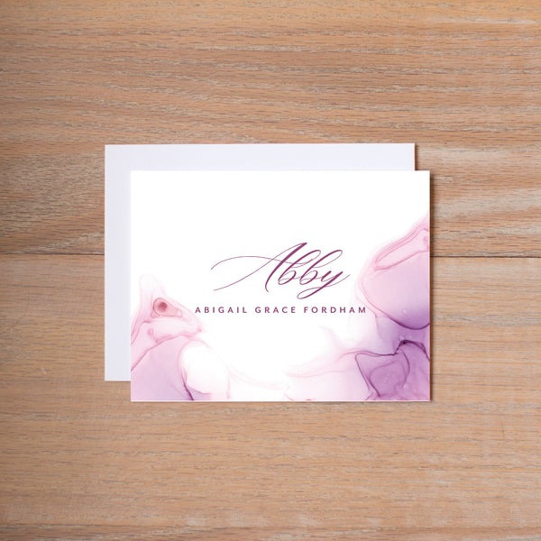 Lilac Wash personal note card (if you choose to print with us, you will also receive envelopes with your note cards)