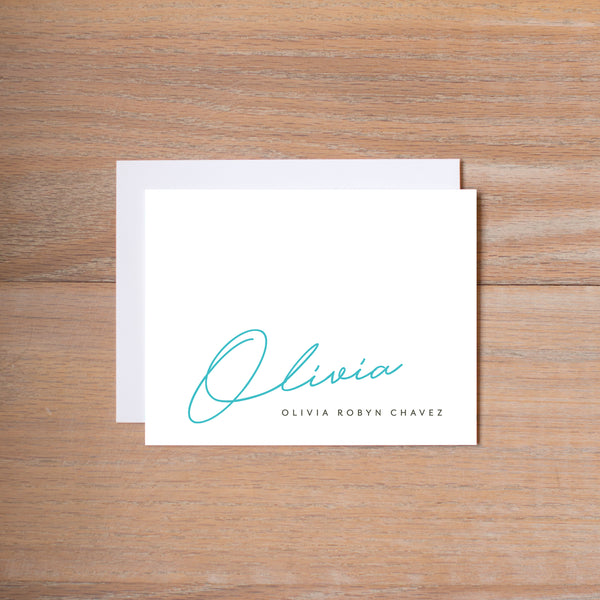 Penned Name personal note card (if you choose to print with us, you will also receive envelopes with your note cards)