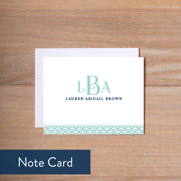 Pool Lattice Monogram note card
