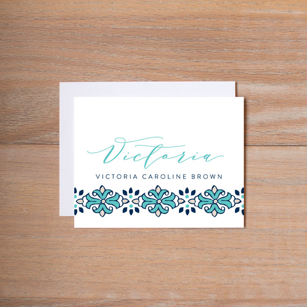 Tile Border personal note card (if you choose to print with us, you will also receive envelopes with your note cards)