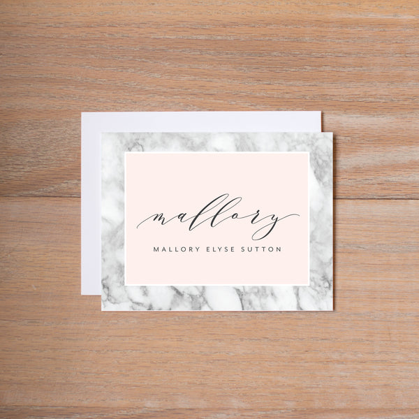 Marble Blush personal note card (if you choose to print with us, you will also receive envelopes with your note cards)