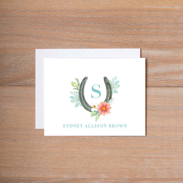Sweet Horseshoe personal note card (if you choose to print with us, you will also receive envelopes with your note cards)