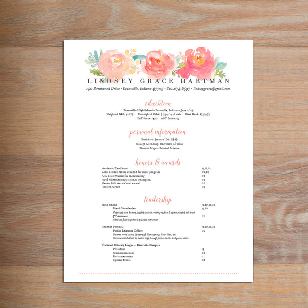 Peony Garden Fully-Formatted Sorority Resume