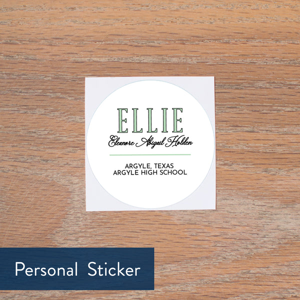 Preppy Name personal sticker