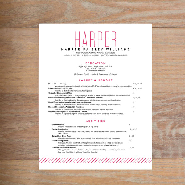 Big Name social resume letterhead with full formatting shown in Peony & Black