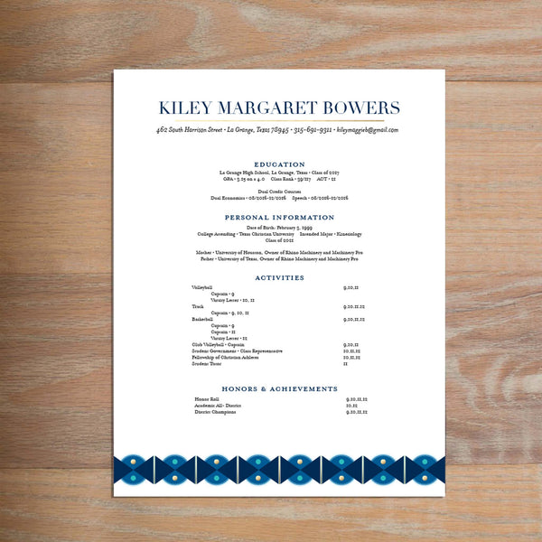 Deco Band social resume letterhead with full formatting shown in Night & Cobalt