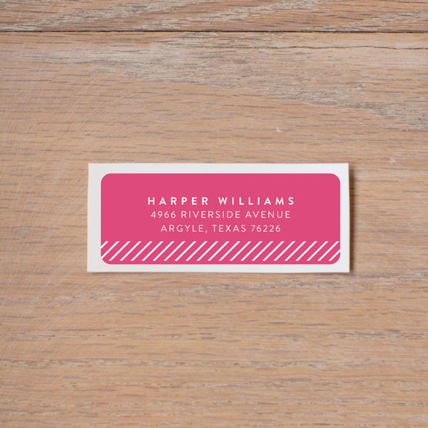 Big Name return (home) address label shown in Peony & White
