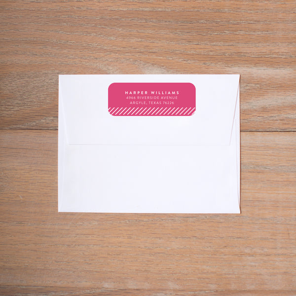 Big Name return (home) address label shown in Peony & Black