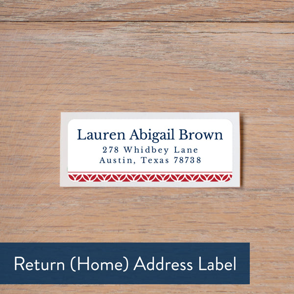 Red Lattice Monogram return address label