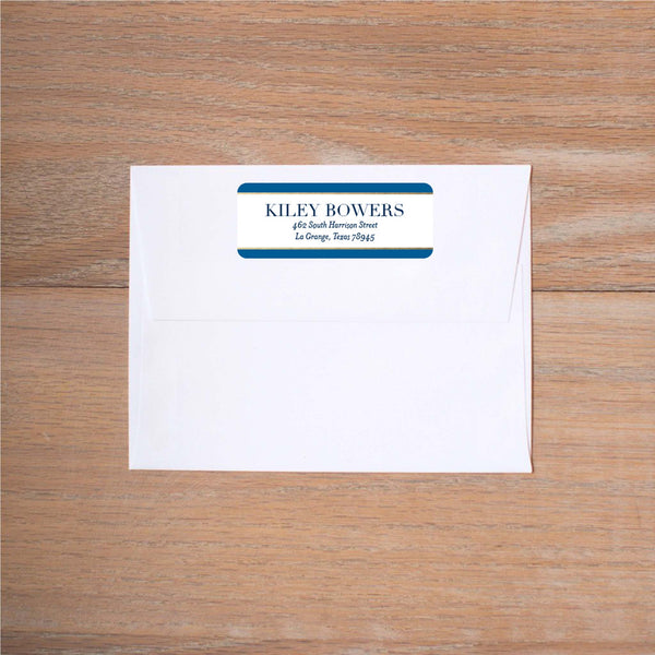 Deco Band Return (Home) Address Label shown in Night & Cobalt