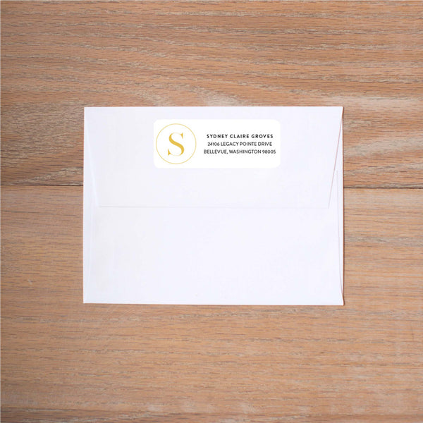 Simply Modern Initial Return (Home) Address Labels