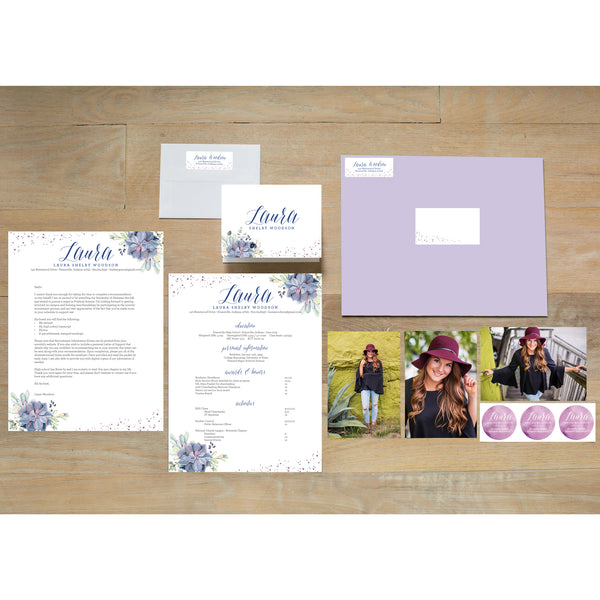 Succulent Garden sorority packet shown with Plum presentation envelope