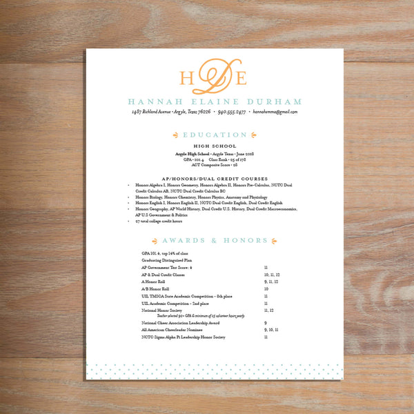 Sweet Monogram social resume letterhead with full formatting shown in Sorbet & Pool