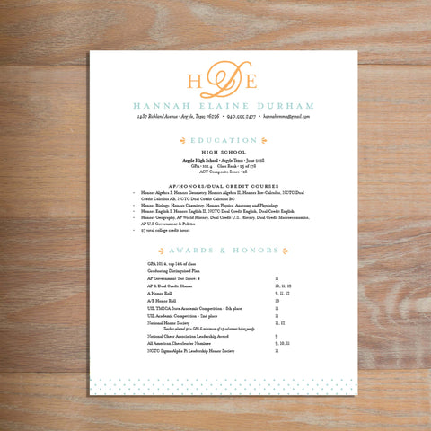 Sweet Monogram social resume letterhead without formatting shown in Sorbet & Pool