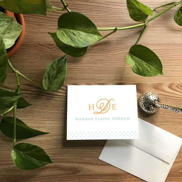Sweet Monogram Folded Note Cards