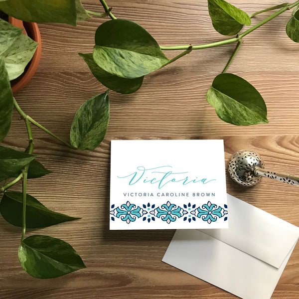 Tile Border Folded Note Cards