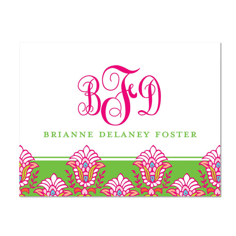 Bright Garden Personalized Folder Sticker shown in Peony & Jungle
