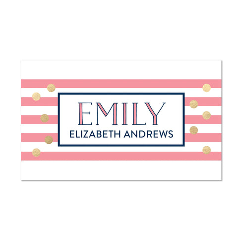 Confetti Stripes Personalized Folder Stickers shown in Night & Flamingo