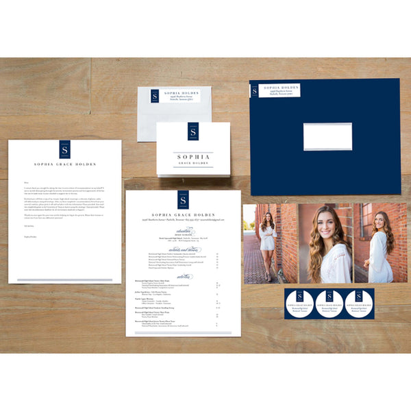 Chic Initial sorority packet shown with Night presentation envelope