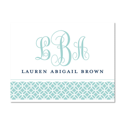 Lattice Monogram folder sticker shown in Pool & Night on White pocket folder