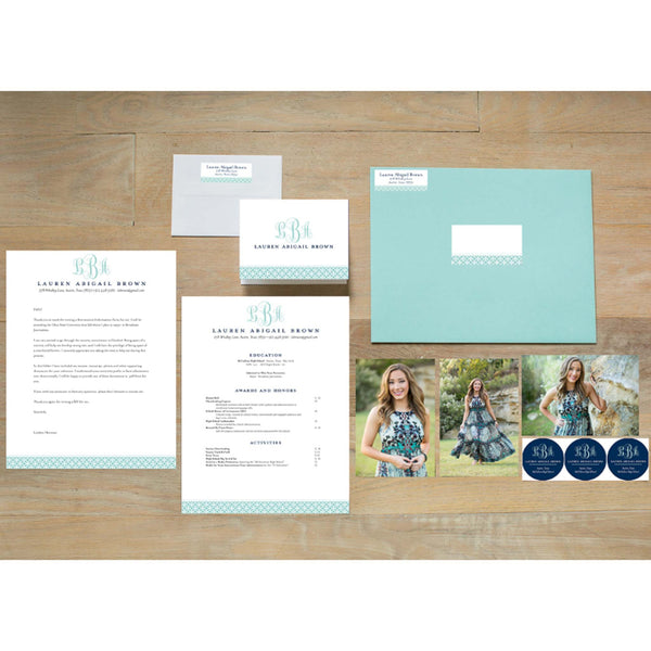 Lattice Monogram sorority packet shown with Pool presentation envelope