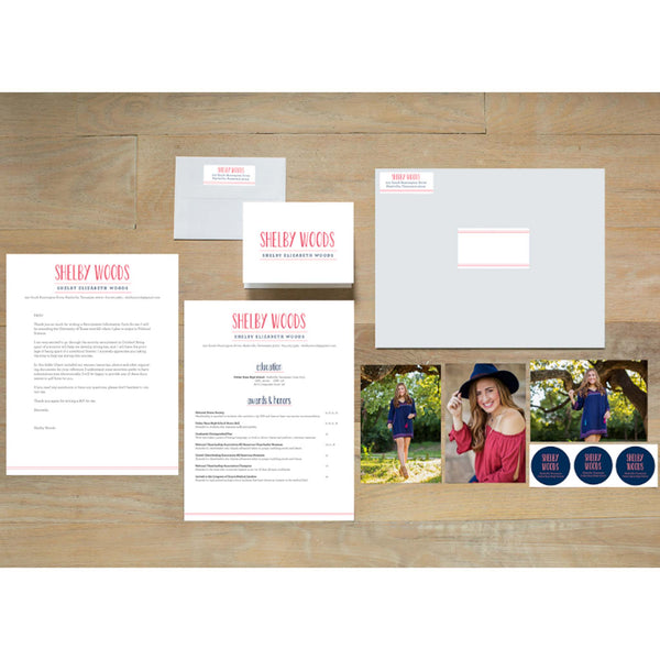 Simply Preppy sorority packet shown with presentation envelope