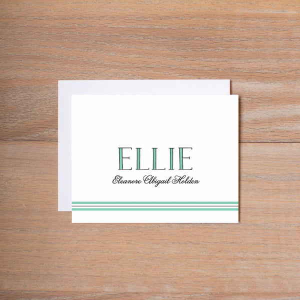 Preppy Name personal note card (if you choose to print with us, you will also receive envelopes with your note cards)