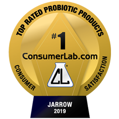 Badge which states that Jarrow Probiotics is rated number one by consumer lab dot com for consumer satisfaction