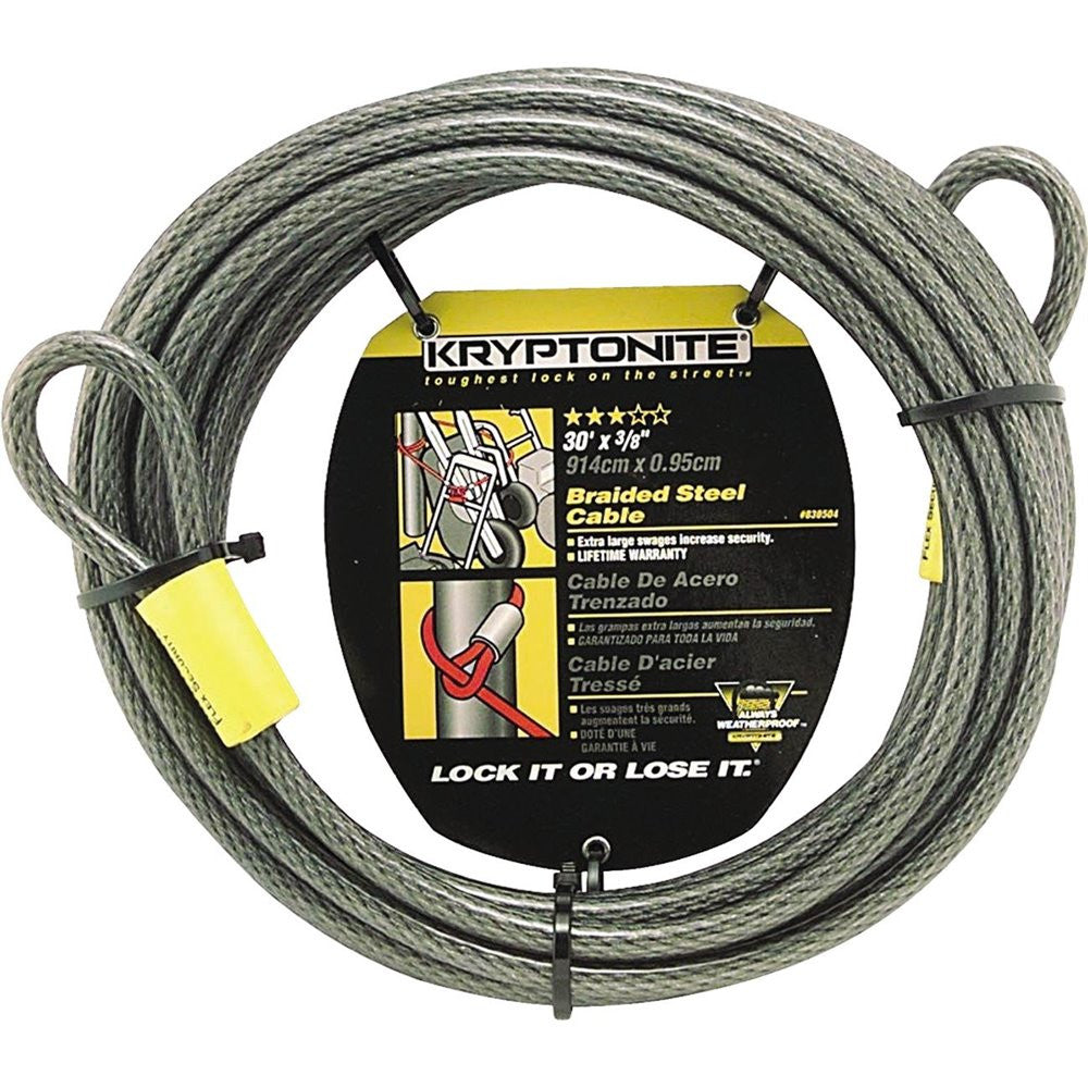 "Kryptonite KryptoFlex 3/8"" x 30' 3010 Double Loop Security Cable"