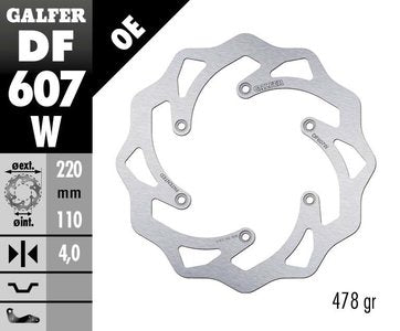 Galfer 220mm Rear Solid Mount Wave Rotor KTM MX/END 1993-2012
