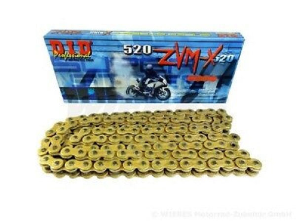D.I.D DID 525 ZVMX Xring Drive Chain Gold Nickel or Natural W// Rivet Master Link