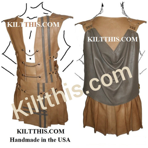 Tan Leather Grey Double Cross Vest and Kilt with Chains by Kilt This