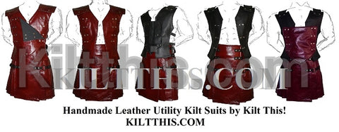 Burgundy Leather Suit by Kilt This Interchangeable