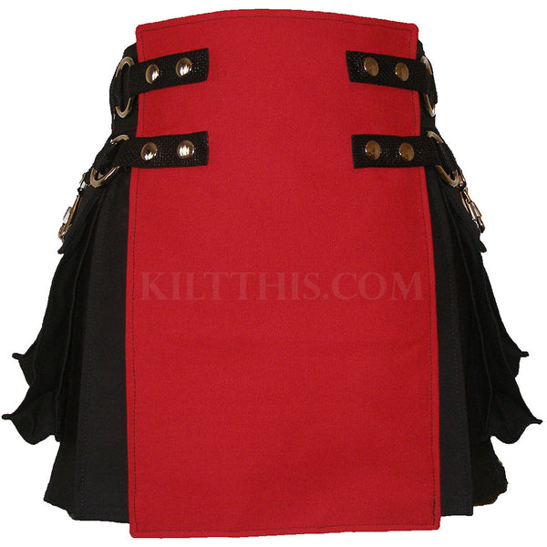 Interchangeable Short Women's Black Red Canvas Cargo Kilt