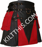 Interchangeable Black Red 10oz Canvas Snap Utility Kilt plus O Ring Leather V Gear Design Set