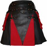Interchangeable Utility Kilt Front Panel Black Leather with Red Cloth V Design